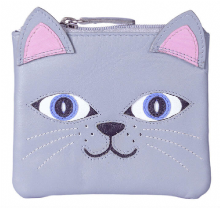 Leather Lola the Cat Grey Coin Purse